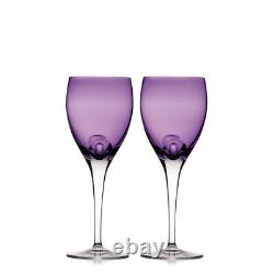 Waterford Crystal W Wine Glasses HEATHER AMETHYST Goblets PAIR NEW / BOX