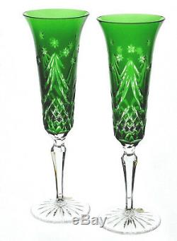 Waterford Emerald Green Cut to Clear Crystal Holiday Wine Champagne Flutes New