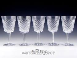Waterford Ireland Cut Crystal ALANA 6-7/8 WINE WATER GLASSES GOBLETS Set of 5