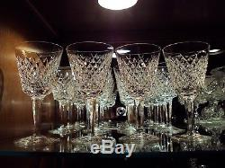Waterford Irish Crystal Alana Claret Wine Glasses (12) Original Ireland c. 1980's