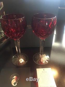 Waterford LISMORE Crimson Hock Wine SET/2 Glasses Red & Clear Crystal 146269 NIB