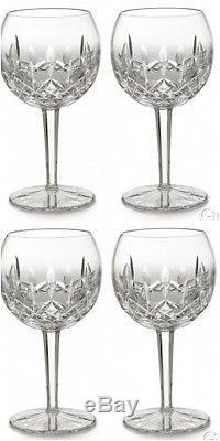 Waterford LISMORE Oversized Wine Balloon Glass 16 oz. (4) Four Glasses New