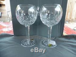 Waterford Lismore Balloon Wine Glasses Set 2 #156516 New In Box 60th Anniversary