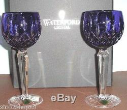 Waterford Lismore Prestige Cobalt Blue SET/2 Wine Hock Cased Crystal #156170 New