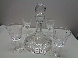 Waterford Lismore Shipps Decanter And 4 Wine Glasses