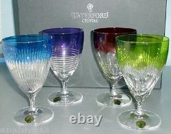 Waterford Mixology All Purpose SET/4 Colored Crystal Stem Glasses #163863 New