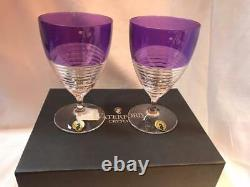 Waterford Mixology Circon Purple Stem Glass Set of Two New in Box