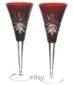 Waterford Ruby Red Snow Crystals Cut to Clear Wine Champagne Goblet Flutes New