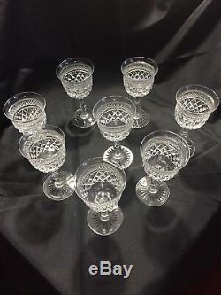 Webb Crystal Criss Cross Cut Russell Pattern Claret Wine 5 3/8 Tall Lot Of 8