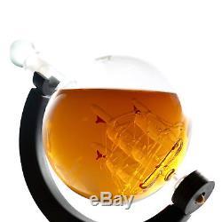 Whiskey Decanter Globe Rum Wine Liquor Stainless Crystal Glass 850ml GLOBE ONLY